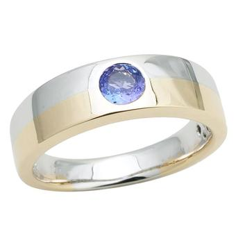 14k White Gold Men's .55ct Tanzanite Ring
