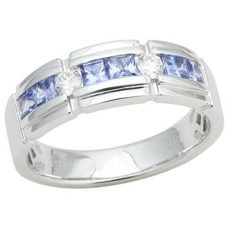 14k White Gold Men's .22ctw Diamond 1.20ct Tanzanite Ring