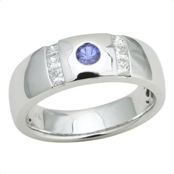 14k White Gold Men's .50ctw Diamond .26ct Tanzanite Ring