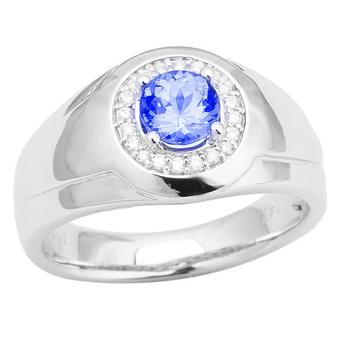 14k White Gold Men's .13ctw Diamond .90ct Tanzanite Ring