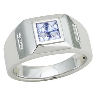 14k White Gold Men's .06ctw Diamond .80ct Tanzanite Ring