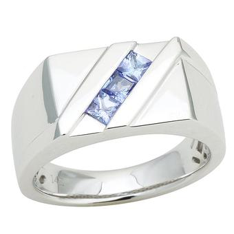 14k White Gold Men's .66ct Tanzanite Ring
