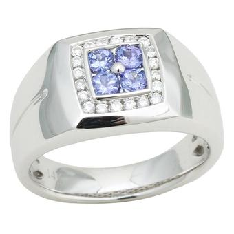 14k White Gold Men's .24ctw Diamond .48ct Tanzanite Ring