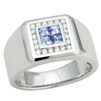 14k White Gold Men's .25ctw Diamond .80ct Tanzanite Ring