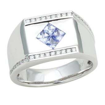 14k White Gold Men's .32ctw Diamond .80ct Tanzanite Ring