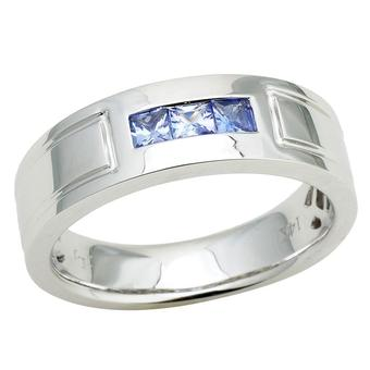 14k White Gold Men's .60ct Tanzanite Ring