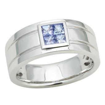 14k White Gold Men's .80ct Tanzanite Ring