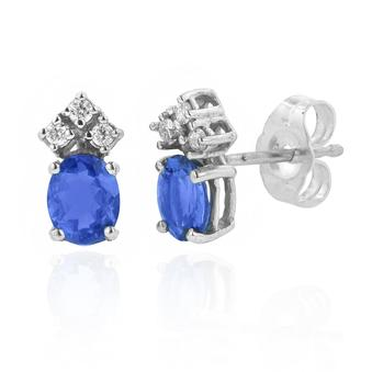 Silver .06ctw Diamond .90ct Tanzanite Earring