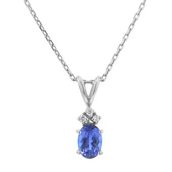 Silver .03ctw Diamond .95ct Tanzanite Pendant