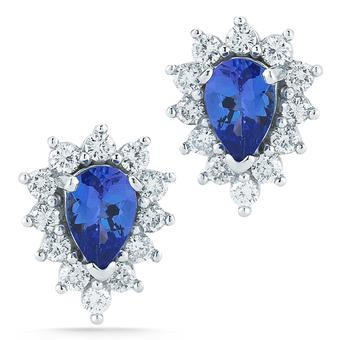 14k White Gold .48ctw Diamond .84ct Tanzanite Earrings