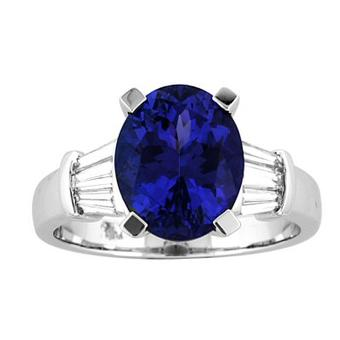 14k White Gold .36ctw Diamond 3.65ct Tanzanite Ring