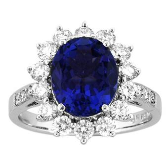 14K White Gold 1.17ctw Diamond and 2ct Tanzanite Ring