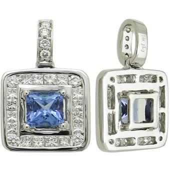 14k White Gold .58ctw Diamond .70ct Tanzanite Pendant