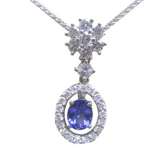 14k White Gold .45ctw Diamond 1.30ct Tanzanite Pendant