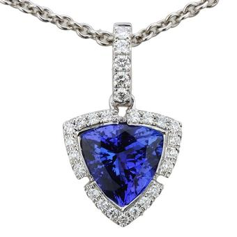 18k White Gold .2ctw Diamond 1.85ct Tanzanite Pendant