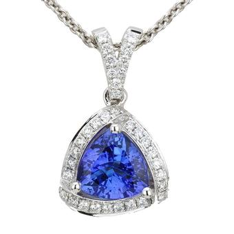 18k White Gold .32ctw Diamond 1.85ct Tanzanite Pendant