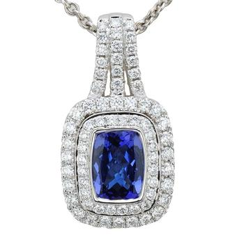 18k White Gold .73ctw Diamond 1.55ct Tanzanite Pendant