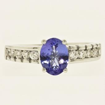 14k White Gold .44ctw Diamond 1.30ct Tanzanite Ring