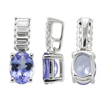 14k White Gold .3ctw Diamond 1.3ct Tanzanite Pendant