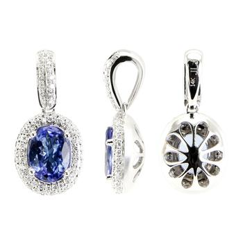 14k White Gold .35ctw Diamond 2ct Tanzanite Pendant