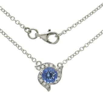 14k White Gold .11ctw Diamond .90ct Tanzanite Necklace