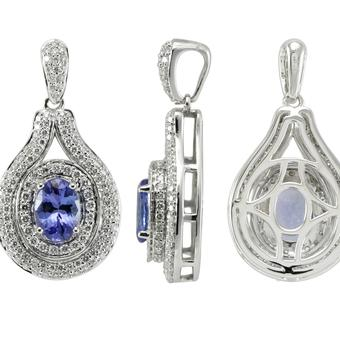 14k White Gold .74ctw Diamond 1.30ct Tanzanite Pendant
