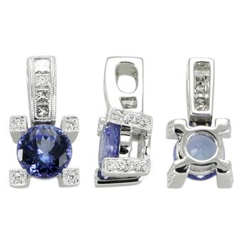 14k White Gold .28ctw Diamond 1.40ct Tanzanite Pendant