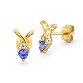 14k Yellow Gold .01ctw Diamond .40ct Tanzanite Earrings
