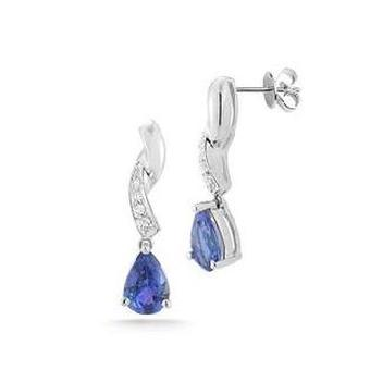 14k White Gold .04ctw Diamond 2ct Tanzanite Earrings