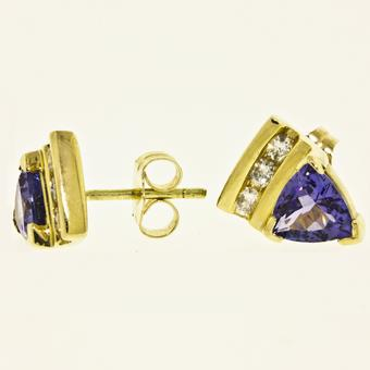 14k Yellow Gold .19ctw Diamond 1.50ct Tanzanite Earrings