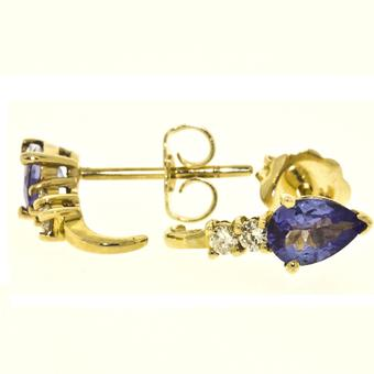 14k Yellow Gold .10ctw Diamond .84ct Tanzanite Earrings