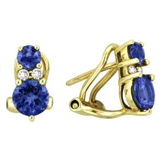 14k Yellow Gold .08ctw Diamond 1.34ct Tanzanite Earrings