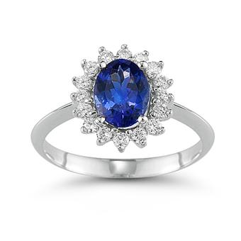 14k White Gold .20ctw Diamond 2ct Tanzanite Ring