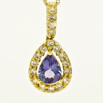14k Yelow Gold .38ctw Diamond .75ct Tanzanite Pendant
