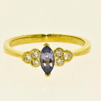 14k Yellow Gold .13ctw Diamond .45ct Tanzanite Ring
