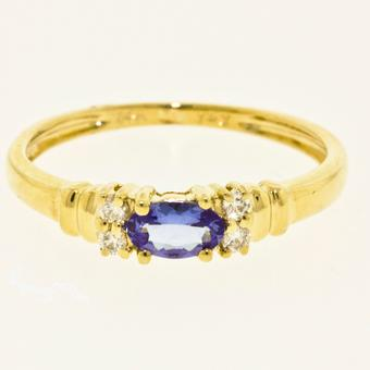 14k Yellow Gold .07ctw Diamond .27ct Tanzanite Ring