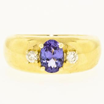 14k Yellow Gold .10ctw Diamond .95ct Tanzanite Ring
