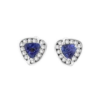 14k White Gold .52ctw Diamond 1.20ct Tanzanite Earrings