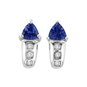 14k White Gold .06ctw Diamond .96ct Tanzanite Earrings