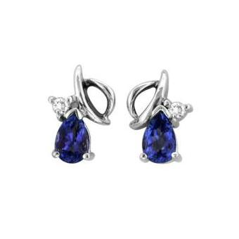 14k White Gold .06ctw Diamond .84ct Tanzanite Earrings