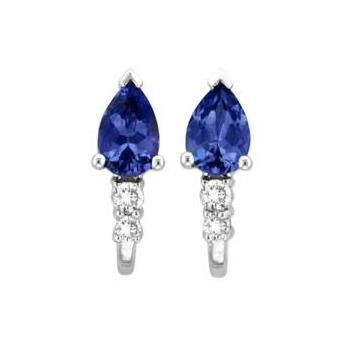 14k White Gold .10ctw Diamond .84ct Tanzanite Earrings