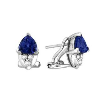 14k White Gold .11ctw Diamond 1.50ct Tanzanite Earrings