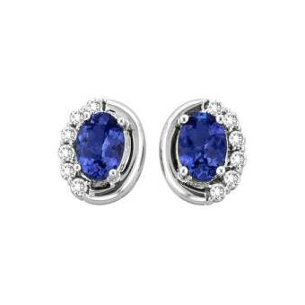 14k White Gold .29ctw Diamond 1.9ct Tanzanite Earrings