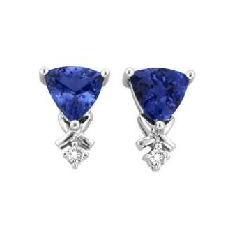 14k White Gold .06ctw Diamond 1.50ct Tanzanite Earrings
