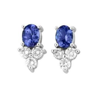 14k White Gold .25ctw Diamond .90ct Tanzanite Earrings