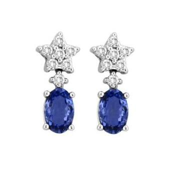 14k White Gold .41ctw Diamond .54ct Tanzanite Earrings