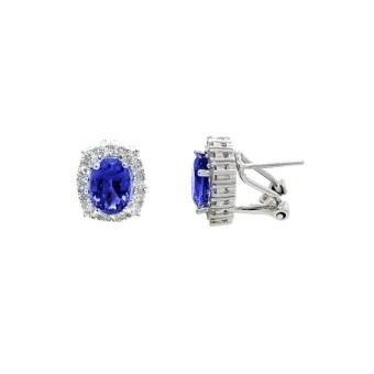 14k White Gold .45ctw Diamond 2.6ct Tanzanite Earrings