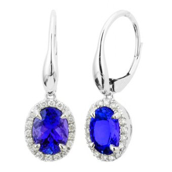 14k White Gold .24ctw Diamond 2.60ct Tanzanite Earrings