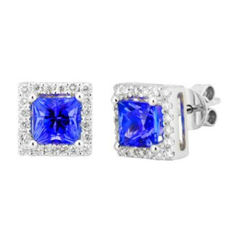14k White Gold .32ctw Diamond 1.40ct Tanzanite Earrings