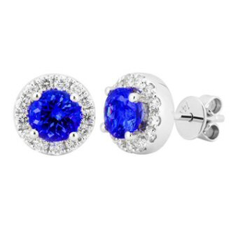 14k White Gold .32ctw Diamond 1.10ct Tanzanite Earrings